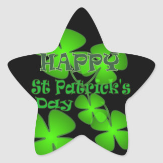 Happy St Patricks Day Star Sticker