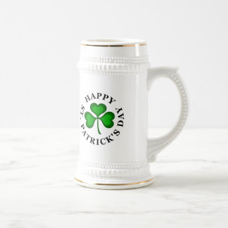 HAPPY ST. PATRICK'S DAY Text with green Shamrock Beer Stein