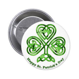 Happy St. Patrick's Day Trinity Clover 6 Cm Round Badge