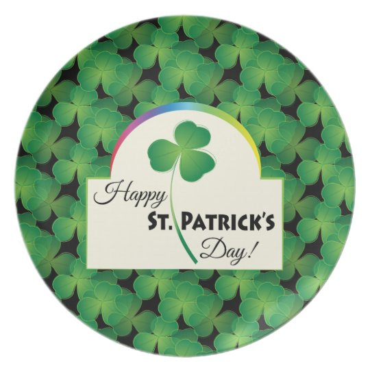 Happy St. Patrick's Day with shamrock Plate