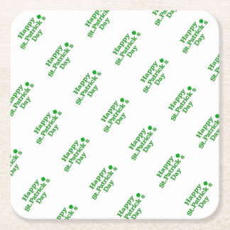 Happy St Patricks Text with Clover Graphic Square Paper Coaster