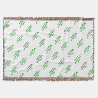 Happy St Patricks Text with Clover Graphic Throw Blanket