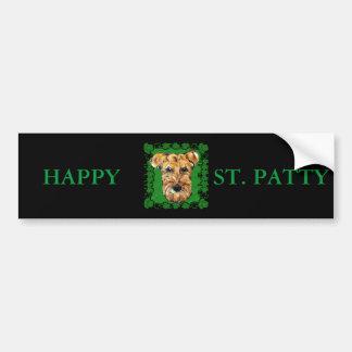 HAPPY ST. PATTY AIREDALE BUMPER STICKER
