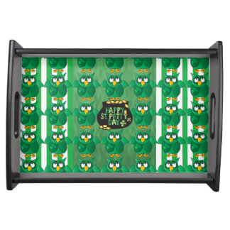 Happy St Patty Day Owl Serving Tray