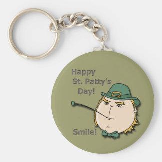 Happy St Patty s Day Leprechaun Smile Keychain