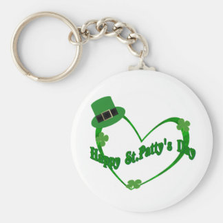 Happy ST Pattys Day Basic Round Button Key Ring