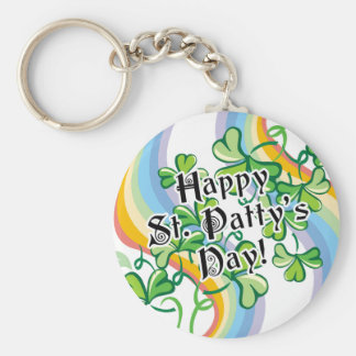 Happy St. Patty's Day Basic Round Button Key Ring