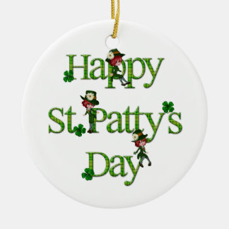 Happy St. Patty's Day Double-Sided Ceramic Round Christmas Ornament