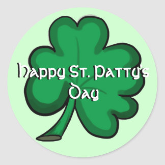 Happy St. Patty's Day green shamrock stickers
