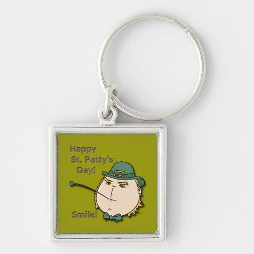 Happy St Patty's Day Leprechaun Smile Keychain