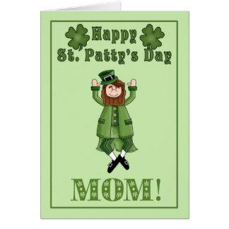 Happy St. Patty's Day Mom - Leprechaun & shamrocks Card