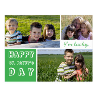 Happy St Pattys Day Photo Collage Green White Postcard