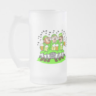 Happy St Patty's Day & Singing Leprechauns Stein 16 Oz Frosted Glass Beer Mug
