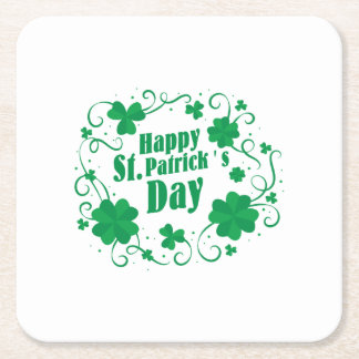 Happy St Saint Patrick's Day Square Paper Coaster