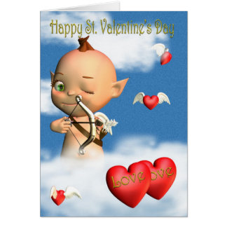 Happy St. Valentine's Day Cupid Greeting Card