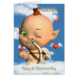 Happy St. Valentine's Day Cupid Husband Greeting Card