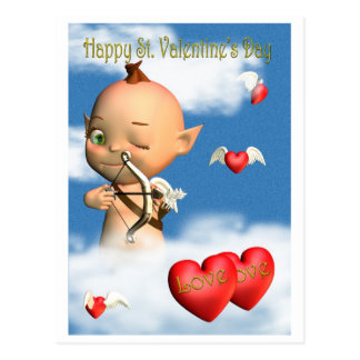 Happy St. Valentine's Day Cupid Postcard