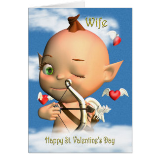 Happy St. Valentine's Day Cupid Wife Greeting Card