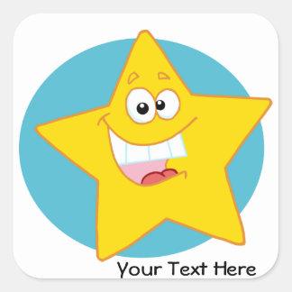 Happy Star (Customizable) Square Sticker