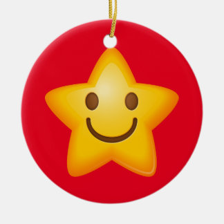 Happy Star Emoji Ceramic Ornament