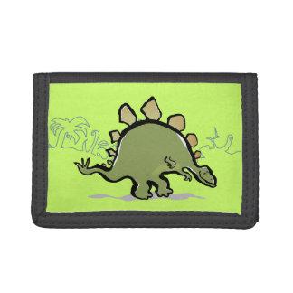 happy stegosaur tri-fold wallet