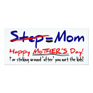 Happy Step-Mother's Day 1 - Card 10 Cm X 24 Cm Invitation Card