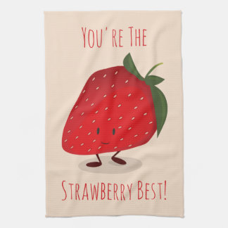 Happy Strawberry Character   Kitchen Towel