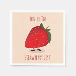 Happy Strawberry Character | Paper Napkins