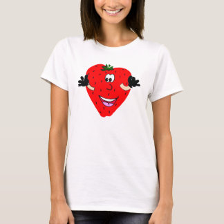 Happy Strawberry Ladies Spaghetti Top (Fitted)