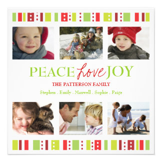 Happy Stripes Peace Love Joy Photo Collage Invites