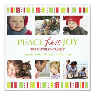 """Happy Stripes Peace Love Joy Photo Collage 5.25"""" Square Invitation Card"""