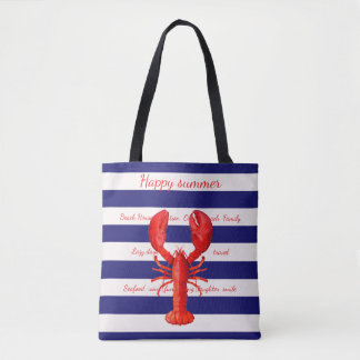 Happy summer blue white stripes with a red lobster tote bag