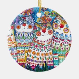 Happy summer cats round ceramic decoration