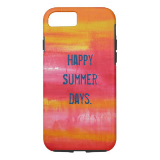 """""""Happy Summer Days"""" Red Pink Yellow Abstract Art iPhone 7 Case"""