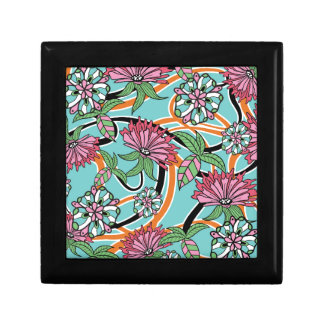 happy summer floral pattern small square gift box
