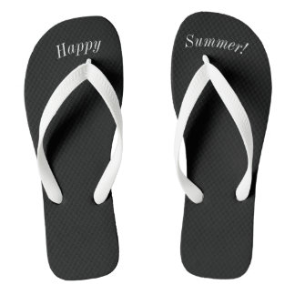 Happy Summer Solid Black W Wide White Strap Thongs