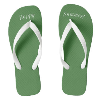 Happy Summer Solid Green W Wide White Strap Thongs