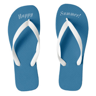 Happy Summer Solid Ocean Blue W Wide White Strap Thongs