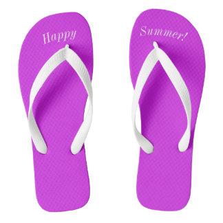 Happy Summer Solid Purple W Wide White Strap Thongs