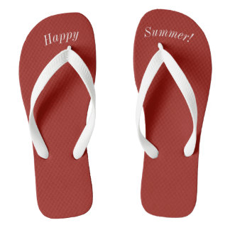 Happy Summer Solid Red W Wide White Strap Thongs