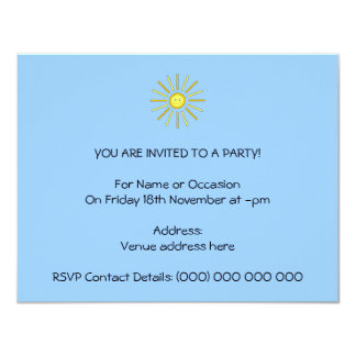"Happy Summer Sun. Yellow and Blue. 4.25"" X 5.5"" Invitation Card"