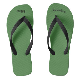Happy Summertime Solid Green W Wide Black Strap Thongs