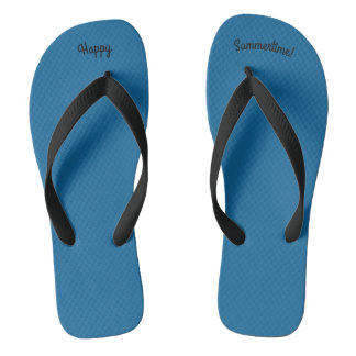 Happy Summertime Solid Ocean Blue W Wide Blk Strap Thongs