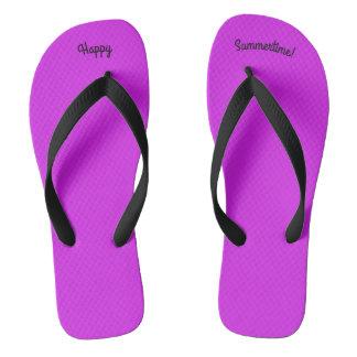 Happy Summertime Solid Purple W Wide Black Strap Thongs
