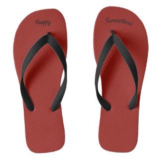 Happy Summertime Solid Red W Wide Black Strap Thongs