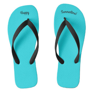 Happy Summertime Solid Sky Blue W Black Wide Strap Thongs