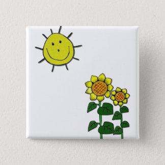 Happy Sun 15 Cm Square Badge