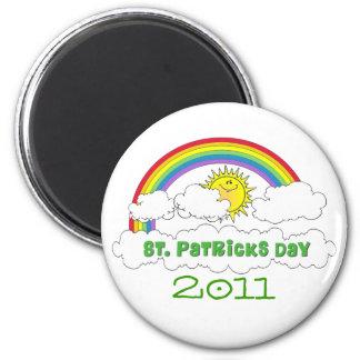 Happy Sun and Rainbow Saint Patricks Day Fridge Magnets