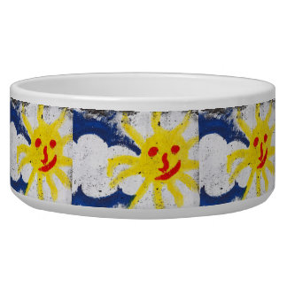 Happy Sun face smiling Pet Water Bowls
