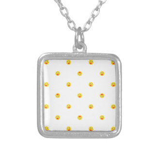 Happy Sun Motif Kids Pattern Silver Plated Necklace